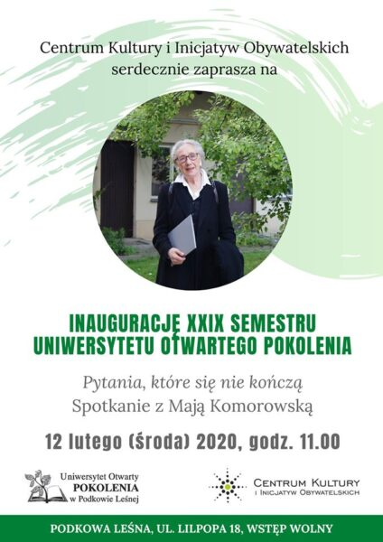 Read more about the article Uniwersytet Otwarty POKOLENIA: Maja Komorowska inauguruje XXIX semestr