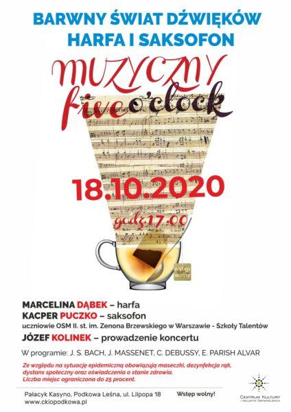 Read more about the article MUZYCZNY FIVE O'CLOCK: Barwny świat dźwięków – harfa i saksofon