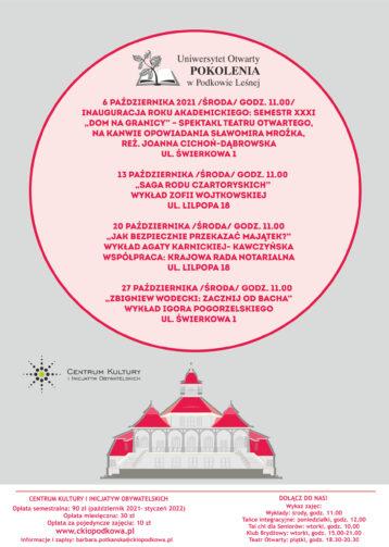 Uniwersytet Otwarty POKOLENIA – październik 2021